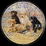 Our exclusive Wild Wings collection of 12 1/2 inch thermometers highlight the works of established wildlife and sporting artists.  This collection of puppies watching a wild bird is called Marsh Madness.