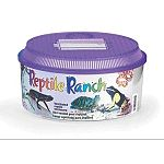 A favorite of both breeders and hobbyists alike, stackable reptile ranches are ideal as a retreat for various species of reptiles. Size 10-3/8 inch diameter x 5-1/2 High. The round reptile ranch has a purple lid.
