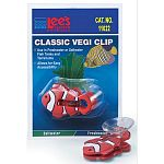 Classic vegi clips secure vegetables, such as spinach, romaine lettuce or zucchini. Fish need their veggies, too! Large suction cup for attachment to aquarium glass. Allows easy access for feeding fish.