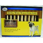 Four paws double-wide 18 inch high walk-over wooden gate is expandable up to 80 inches thats over 6 and a half feet wide). At 18 inches high it will keep small dogs and older dogs contained that have lost their vertical leap!