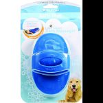Easy slip-on handle fits any hand Fill with shampoo then massage deep into pets coat Flexible rubber tips can be sued before or after bath to lift dirt, dust and dead hair