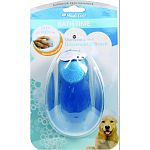 Grooming tools and shampoo dispenser all in one Features and easy to push button for dispensing shampoo When the brush is used on a dry dog, the soft rubber flexible tips gently lift dirt, dust, and dead hair When used as a shampoo dispenser, the rubber t
