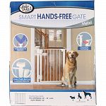 Hands free gate is designed to contain your pet in one area. It features a unique easy to use lever that opens simply with push of your elbow. It features an all metal design with auto-close technology. Pressure mounts allow for easy installation and move