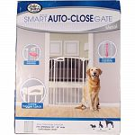 To contain pet in one area. It utilizes auto-close technology. And features a hold button that keeps gate open until it ispushed closed . Pressure mounts allow for easy installation wont damage door frames and require no hardware or tools. Gate measures 3