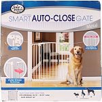 Designed to contain pet in one area This gate utilizes auto close technology and features a hold button that keeps the gate open until pushed close Pressure mounts allow for easy installation wont damage door frames and require no hardware or tools. Gate