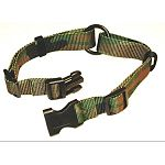 Use this adjustable dog camouflage for hunting dogs or any dog. 1 inch wide with strong Hamilton hardware. Adjusts neck sizes 18 - 26 inches. Your dog will look outdoorsy in this stylish collar.