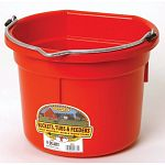 Little Giant 8 Quart Flat Back Plastic Bucket. Ideal for minature horses, goats or sheep. Its compact size makes it handy for everyday chores around the barn or at home. Ribs under the rim improves strength.