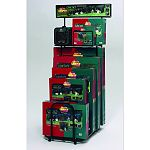 Floor display designed to merchadise all life stages fold and carry crates, canine camper portable tent crates. Includes heavy duty casters and top display or inventory shelf. 78.75in h x 25.5in w x 36.75in d. Display purposes.