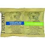 Triumph sample packs of lamb and chicken dog food. Case contains: 42 lamb and 42 chicken.