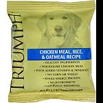 Triumph sample pack of chicken meal, rice and oatmeal dog food. Case contains: 84 - 3.5 ounce sample packages.