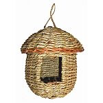 Woven natural grass-rope finish. Provides cozy roosting and resting place for all small birds. Natural hanger.