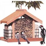This stylish chalet feeder from Perky pet is made from Aromatic Cedar. The deluxe Chalet has 2 -12-oz Suet Baskets to attract a variety of birds. Large 5.25 lb capacity, hanging rope included.