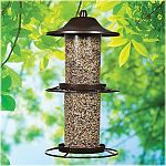 Features evenseed technology that allows seperate chambers to empty equally. Sure-lock cap system keeps squirrels out. Rustic brown finish. Two independent seed compartments that can be filled with two different types of seed to attract a larger variety o