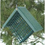 Going Green Recycled Plastic Suet Bird Feeder made from 90% recycled plastic that is great for helping the environment. Easy to keep clean and fill with one suet cake. Plastic is strong and durable and doesn't absorb water. Made in the USA.