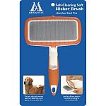 Top quality slicker brush for puppies and dogs with soft pad and stainless steel pins. Specially engineered top flips back to easily remove dead hair from pins after brushing.