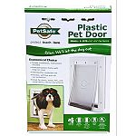 Durable plastic frame with closing panel for security. Great for storm doors. Great for pets up to 15 pounds. Dimensions - 7 5/8 x 11 1/8 . Flap opening - 5 1/8 x 7 5/8 .