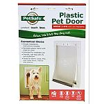 Durable plastic frame with closing panel for security. Great for storm doors. Great for pets up to 40 pounds. Dimensions - 10 5/8 x 15 1/8 . Flap opening - 8 1/8 x 11 3/4 .
