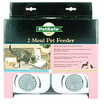 (2) 1.5-cup portion sections. Electronic timer allows you to set each meal any time up to 48 hours away. Can use wet or dry food. Dishwasher-safe food tray. Uses one aaa battery. Battery lasts up to 12 months.