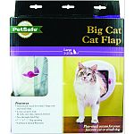 Made for big cats. Can be used 4 ways, in, out, both or locked.