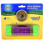 For dogs 10-50 pounds. Holds 2 ultra-thick rawhide treat rings. Dogs love to chew, and this toy is designed with determined chewers in mind. Features knobbed rubber ends molded over nylon and a textured rubber center for extra chewing satisfaction. The to