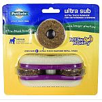 For dogs up 10-50 pounds. The sub features knobbed nylon buns sandwiching rubber spacers and 2 ultra-thick rawhide treat rings. These treat rings are 4x thicker than the regular busy buddyrawhide rings. The rings spin on their posts, allowing very little