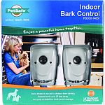 Includes 2 indoor bark control units, 2 adhesive-backed hook and loop fasteners, four batteries, and operating guide Automatically corrects excessive barking, for pets over 6 months of age Uses ultrasonic sound to distract from barking Detects bark up to