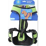 Maximum comfort with elasticized neck straps Girth strap features two quick-snap buckles for ease of use and two adjustment points for optimal fit Padded handle for extra control Reflective detailing for increased safety and visibility Convenient top leas