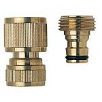 Melnor's Brass Quick Connector Set - 17 in. is easy to install to a hose. Made of solid brass construction for durability and this quick connecter set consists of one each - 46C and 47C.