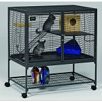 This multi-level cage for small animals is easy to assemble and designed for a variety of small animals. Assembly requires no tools. Bar spacing is 1/2