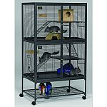1/2 horizontal wire spacing allows pets to fulfill their instinct to climb and explore in secure environment. Full width double doors provide maximum accessibility for easy cleaning and feeding. Wide expanse shelf and full width plastic pan floor provide