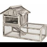 Weather resistant, durable composite placticwood Spacious fenced run with galvanized wire mesh for protectionfrom predator Upper level provides privacy and shelter Locked gabled roof opens for full interior access Easy to clean and assemble