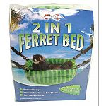 Hangs or sits in cage. Removable clips allow for quick conversion from comfortable hanging bed to a plush spot on the cage floor. Versatile bed for any ferret home. Soft fleece material.