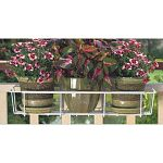 Flower Box Holder, Adjusts To Accommodate 24 To 36 inch Flower Boxes & Will Adjust To Be Positioned On Steel Fences & Railings, 2 x 4 Wood Railings & 2 x 6 Wood Railings, Vinyl Coated Steel.
