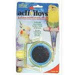 Durable plastic and metal toy attaches to any horizontal or vertical wire cage with a strong easy-grip nut. Large round double sided mirror spins inside rotating ring. Parakeets and other small birds require stimulation and exercise for their well-being.