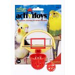 For parakeets, cockatiels and similar sized birds.  Your bird can slam dunk anytime with Birdie Basketball! 2.5 in. x 3.5 in. x 4 in. Place little treats inside the basketball or the net for added fun.