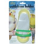 A cuttlebone is a staple for every bird cage. This unique holder keeps your bird's cuttlebone off the cage floor while also containing any bits and pieces that have been broken off. A must-have for your small bird!
