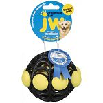Assorted ball for dogs that bounces and rolls and is extra fun to chew. Assorted colors.