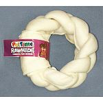 5 inch braided donut for dogs and puppies.. Rawhide. Great for chewing.