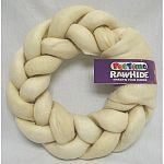 Huge braided donut - 8 inch diameter. Delicious, natural rawhide. Dog treat.