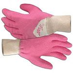 Hand protection when gardening. Boss dirt digger glove procured seamless fingertips, latex coating. Latex, cotton/poly string knit.