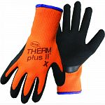 Stretchable, extra-heavy, high-vis polyester shell. Brushed interior for warmth. Textued latex coasted palm. Knit wrist.