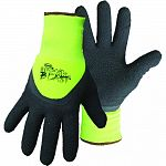 3/4 dip textured latex palm. High-vis green stretchable nylon shell. Terry cloth lined. Knit wrist.