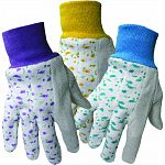 Packaged in assorted colors. Breathable cotton fabric for ventilation. Comfortable knit wrist seals out dirt and debris. Cotton with pvc dotted palm, thumb and index finger. Excellent grip and long wear. One size fits most.