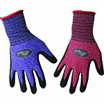 Dipped and dotted nitrile palm and fingers. Stretchable nylon shell. Knit wrist. Assorted colors: purple, red.