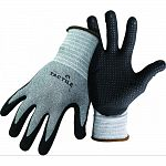 Dipped and dotted nitrile palm and fingers. Stretchable, breathable nylon shell. Knit wrist.