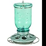 Reminiscent of vintage blue glass canning jar Features 8 feeding ports Easy to clean metal base