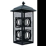Two in one feeder for birds to rest as well as feed Metal mesh fly-through bird feeding stations will encourage many feeding birds Mesh on all four sides make bird watching that much more visible Holds sunflower seed or peanuts