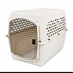40x27x30 inches. For pets 70 to 90 pounds such as boxers, german pointers and labrador retrievers. Offers a simple and basic way to train pets and keep them safe. Consists of heavy duty plastic top and bottom sections, secure locking steel door and wing n