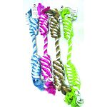 Dogs enjoy chewing on this durable twisted rope by Ethical. Provides your dog with hours of chewing fun on either end and the rope is great for cleaning in between teeth for a healthier mouth.