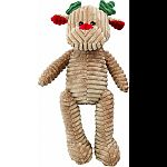 Plush corduroy reindeer dog toy Features 2 squeakers to keep your dog entertained Velvety soft corduroy material is gentle on dog s teeth and gums